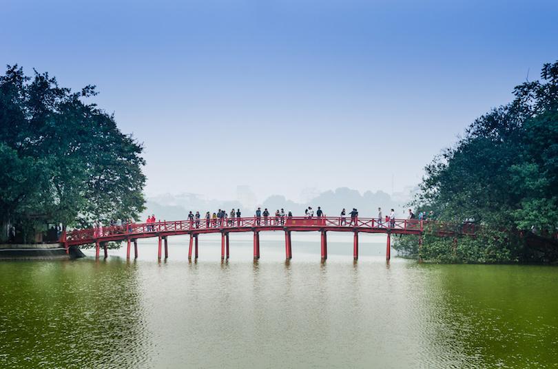 Red Bridge in Hoan Kiem Lake, Ha Noi, Vietnam