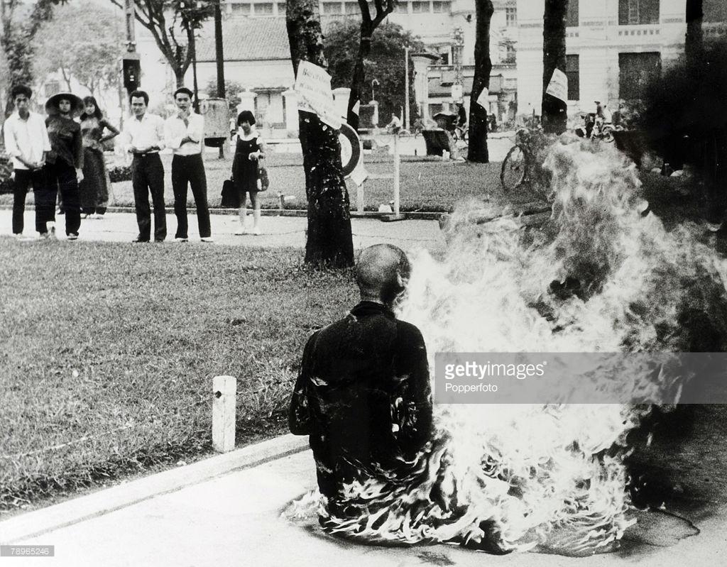 Politics. Saigon, South Vietnam. 1963. A Buddiest monk burns himself to death in protest at government discrimination.